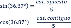 Fórmulas para calcular el seno, el coseno y la tangente del ángulo de un triángulo rectángulo a partir de sus lados y problemas resueltos de trigonometría básica aplicando dichas fórmulas. Geometría. Matemáticas. Secundaria.